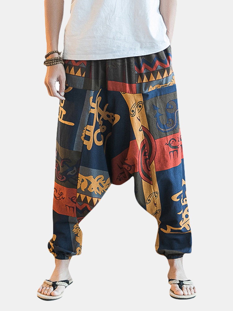 3f2913fceb3 ChArmkpR Mens Casual Baggy 100% Cotton Harem Pants Ethnic Style Printed  Loose Wide Leg Pants Online-NewChic