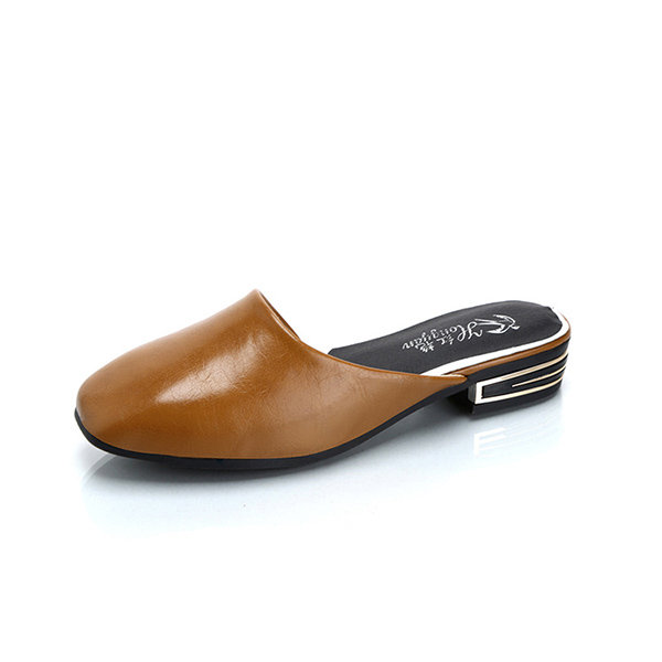 78652676b1704 Hot-sale Block Backless Square Toe Flat Slip On Shoes - NewChic
