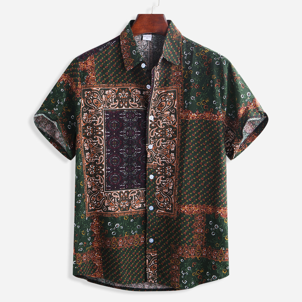 Mens Ethnic Style Patchwork Printed Summer Short Sleeve Cotton Loose Casual Shirt