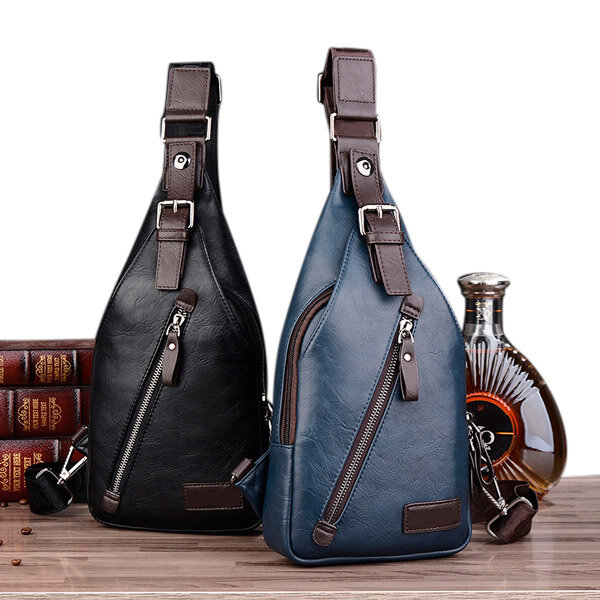 Men PU Leather Retro Portable Leisure Shoulder Bag Chest Bag Crossbody Bag  is worth buying - NewChic cac59bc8798c0