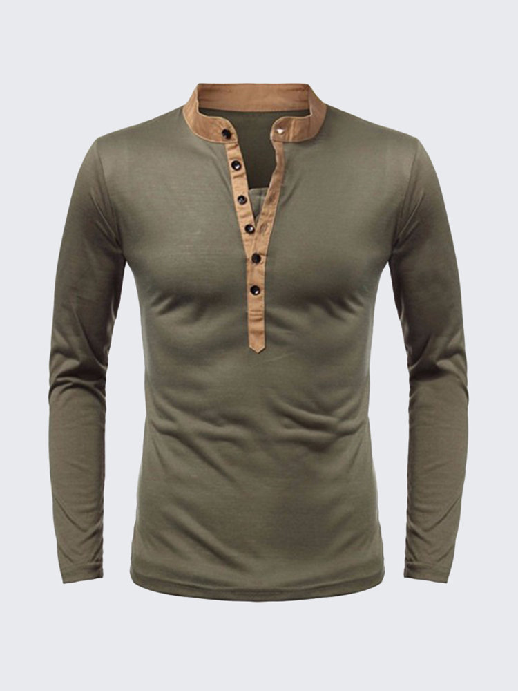 1ccaf2cd92e Amurs Superb Men s Cotton Solid Pure Color Buttons V-neck Long-sleeved  Casual T-shirts on sale-NewChic