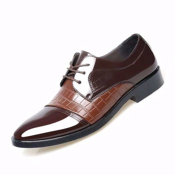 d11cd4ac63b4 Men Leather Check Plaid Pointed Toe Lace Up Business Formal Shoes Online -  NewChic