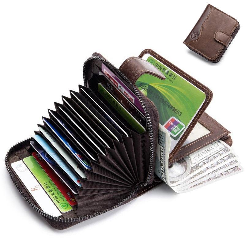 Hot-sale BULLCAPTAIN Bullcaptain Cowhide 16 Card Holder Vintage Hasp Short Wallets Zipper Coin Purse - NewChic