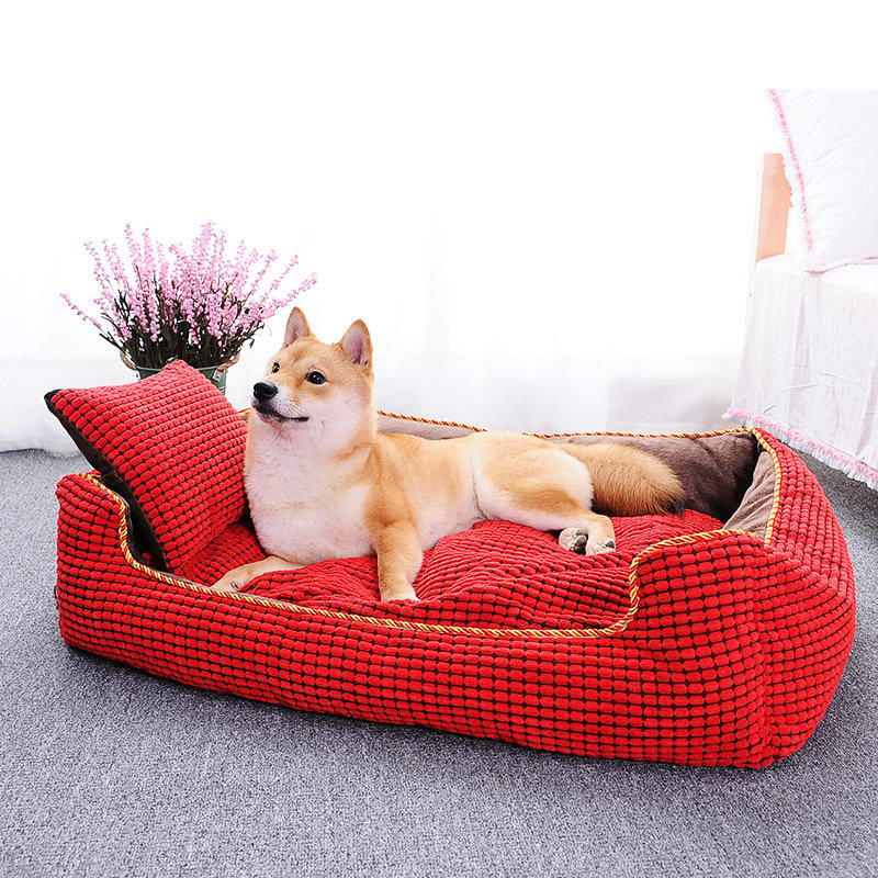 Hapet 2 Colors Luxury Corduroy Pet Sofa Couch Bed Dog Cat Winter