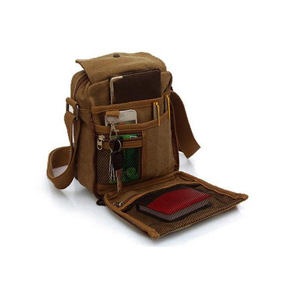 5d9b2c57ed KAUKKO Hommes Vintage Canvas Multifonctionnel Crossbody Bag Casual Retro  Bandoulière En Plein Air