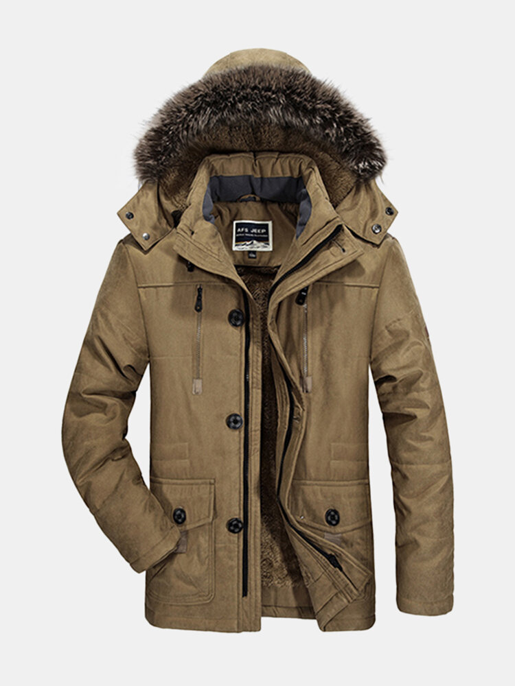 d91991882c4 Plus Size Winter Thicken Detachable Hood and Fur Collar Jacket for Men is  Warm - NewChic