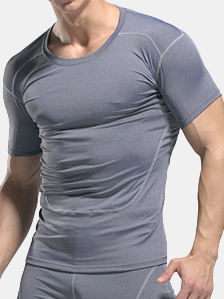 Mens Quick-drying Breathable Short Sleeve Skinny Fit Tops Fitness Sport T-shirt