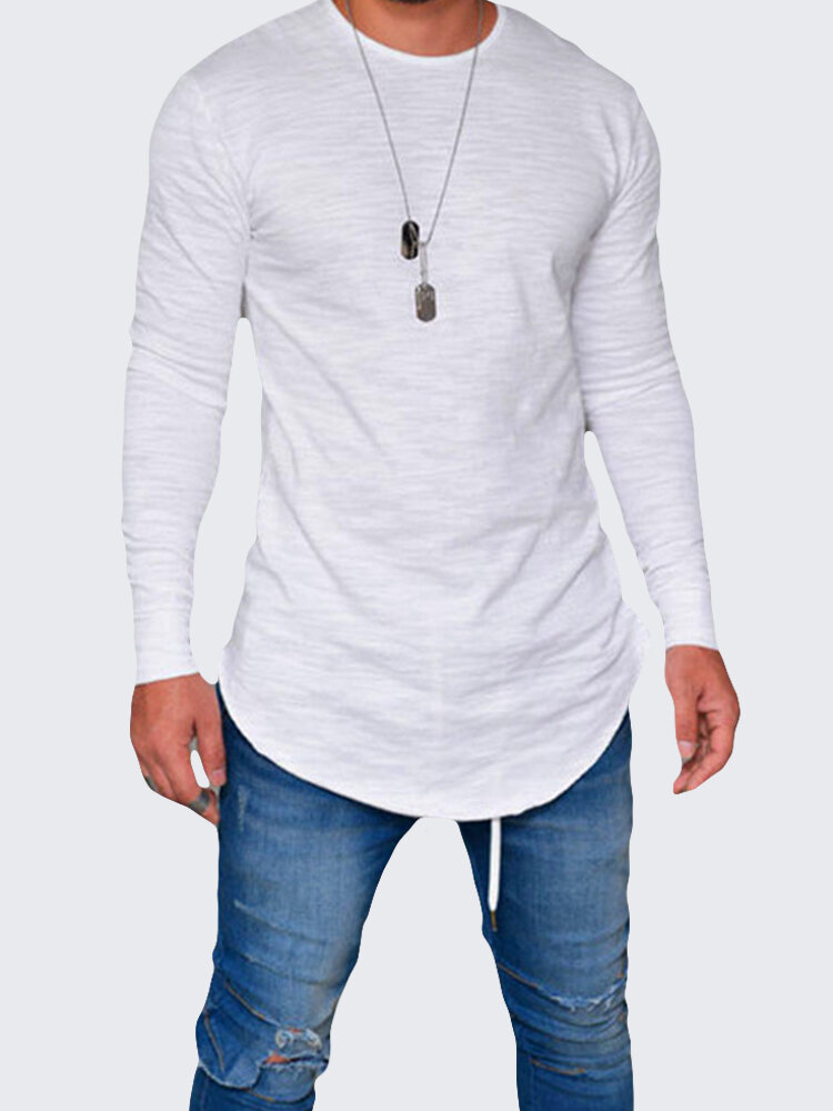 Mens Breathable Solid Color Irregular Hem O-neck Long Sleeve Casual T shirt  on sale-NewChic 4d4a364f61f