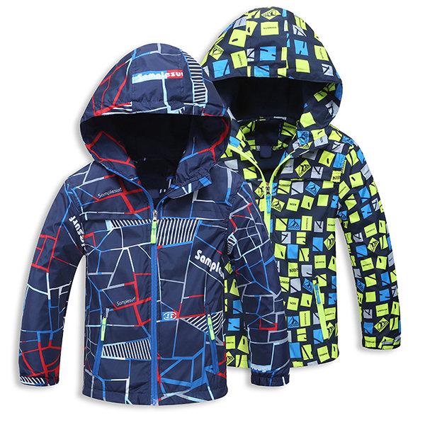 d3b5fb3dd Thick Winter Printed Boys Jacket Kids Hooded Windbreaker Baby Boys ...