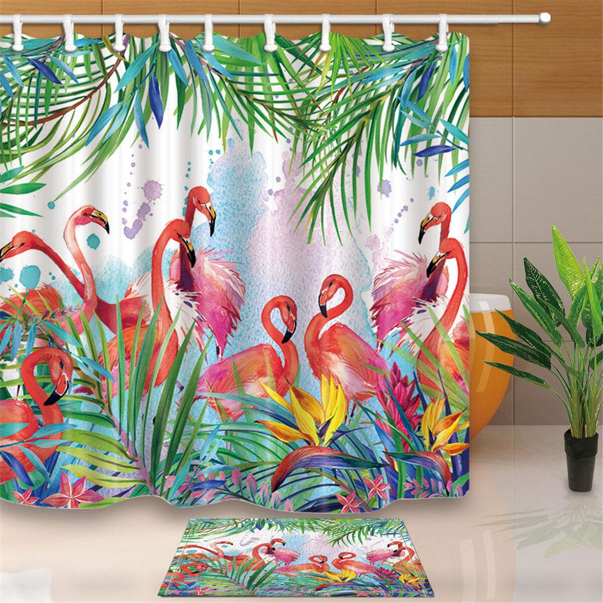 Fleurs Tropicales Et Flamingo Theme Salle De Bain Rideau De Douche