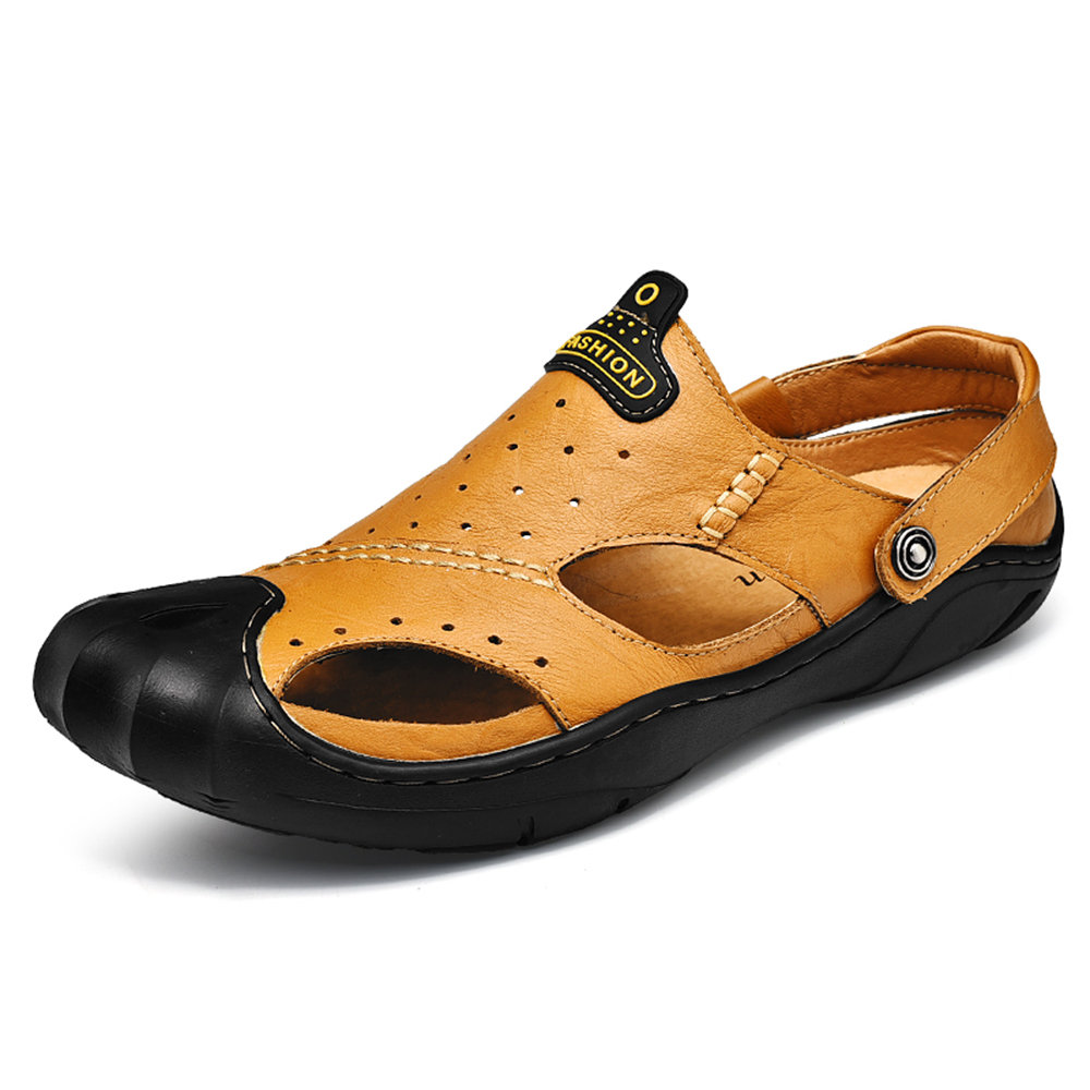 8405d83f0 High-quality Men Anti-collision Toe Out Door Closed Toe Leather Sandals -  NewChic