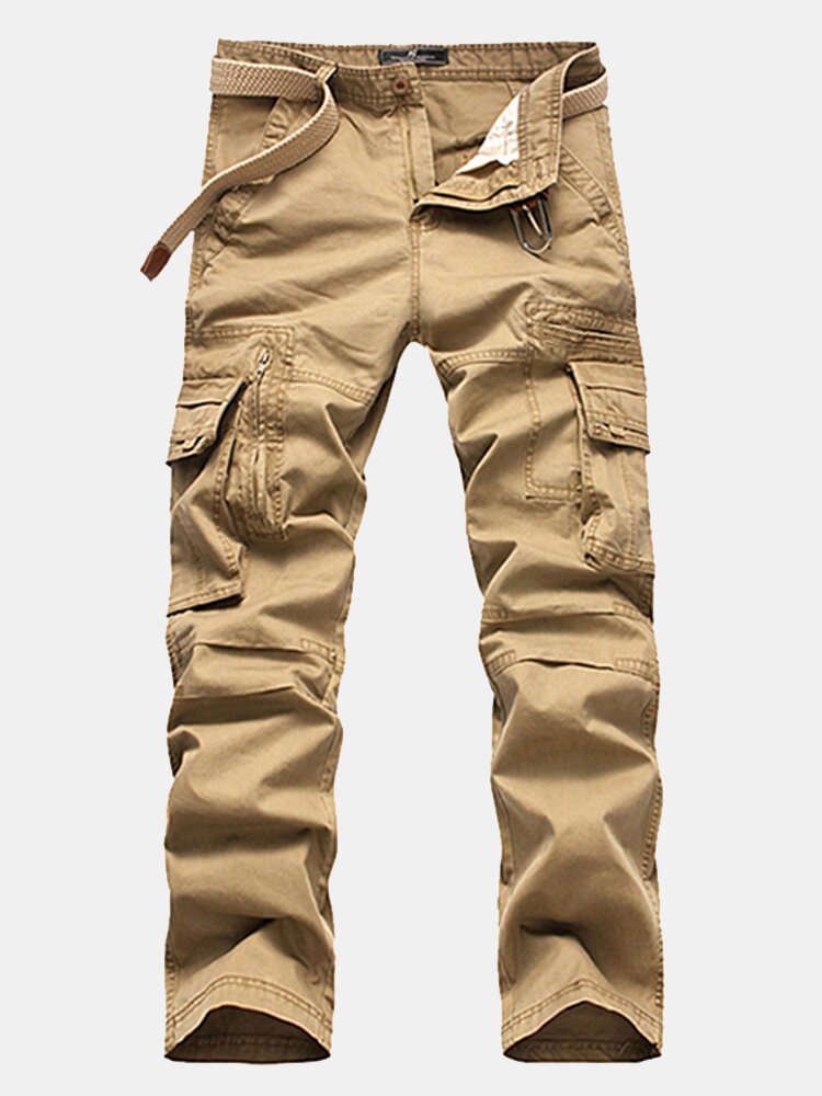 2bc0c55ab06 Mens Cotton Cargo Pants Straight Leg Solid Color Zippered Multi-pocket  Casual Trouser Online-NewChic