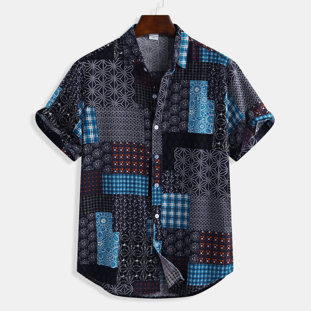 Mens Patchwork Printing Cotton Breathable Short Sleeve Loose National Style Casual Shirt