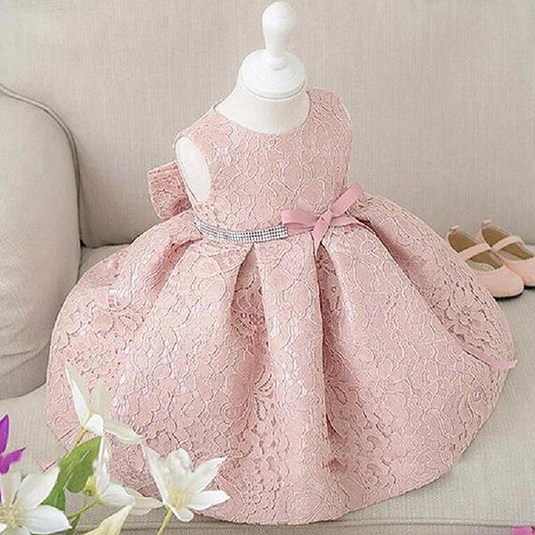 Elegant Girl Sleeveless Big Bow Ball Gown Party Princess Dresses For