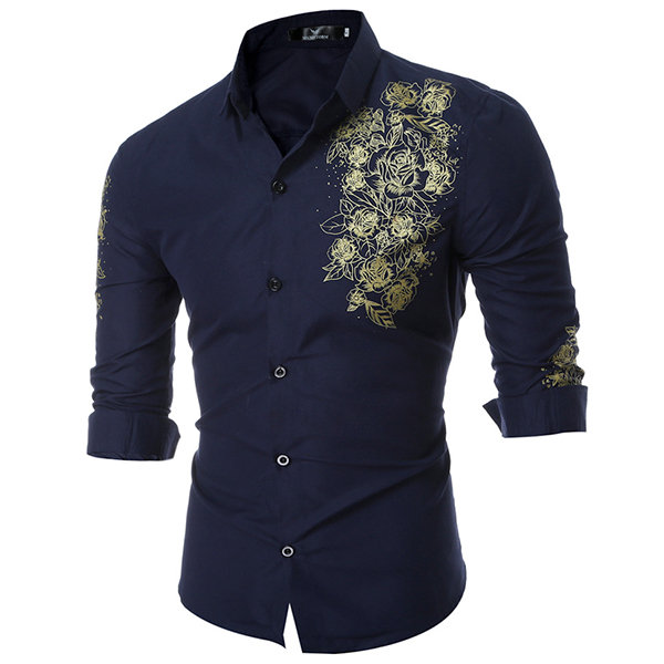 Designer Long Sleeve Printing Slim Fit Formal Casual Turn Down Collar  Designer Dress Shirt for Men - NewChic a133c212d