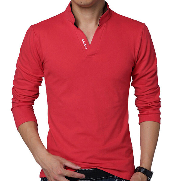 HOT SALE Mens Fashion V-neck Collar Solid Color Long Sleeve Casual T ... 429b13475cb