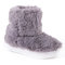 Girls Solid Color Plush Decor Hairy Warm Lining Short Boots For Kids