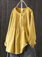 Vintage Solid Color Pleated Long Sleeve Plus Size Blouse