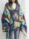 Vintage Print Cloak Hooded Shawl Plus Size Cardigans for Women