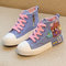Girls Lovely Cartoon Decor Floral Zipper Canvas Casual Shoes
