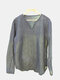 Mens Brief Pure Color Pullover Long Sleeve V-neck Thin Casual T shirt