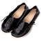 Women Large Size Floral Embroidery Stitching Soft Flats Leather Loafers