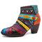 SOCOFY Bohemian Colorful Stripes Splicing Pattern Zipper Ankle Leather Boots