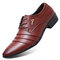 Men Leather Slip Resistant Pointed Toe Business Formal Dress Shoes