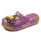 SOCOFY Genuine Leather Retro Floral Pattern Stitching Big Head Platform Comfortable Sandals