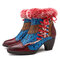 SOCOFY Bohemian Splicing Pattern Warm Lined Cow Leather Adjustable Zipper Lace Up Stitching Boots