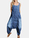 Women Button Denim Solid Color Loose Casual Overall Harem Romper