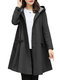Fashion Solid Color A-line Hooded Trench Coat