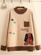Casual Cartoon Dog Print Crew Neck Sweater for Women