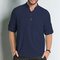 Mens Brief Fashion Stand Collar Three Quarters Sleeve Casual Buttons T shirt Tops