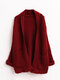 Solid Color Long Sleeve Casual Cardigan with Pockets