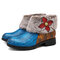 SOCOFY Super Warm Cow Leather Splicing Retro Button Floral Fur Lining Stitching Zipper Ankle Boots