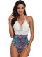 Swimwear Sexy Tricô Halter Patchwork Floral Backless One Peça Para As Mulheres