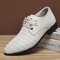 Men Woven Style Breathable Hollow Out Business Formal Casual Shoes