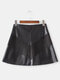 Women Leather Suede Stitching Mini Skirt