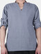 Mens National Style Brief Loose Long Sleeve V-neck Casual Tops T shirt