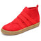 European Style  Elastic Slip On Suede Pure Color Ankle Flat Boots