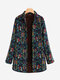 Floral Folk Style Print Thick Long Sleeve Vintage Coat