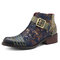 SOCOFY Vintage Buckle Cow Leather Splicing Reto Flower Pattern Multicolor Stitching Zipper Boots
