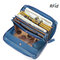 Brenice RFID Cowhide Zipper Long Wallets Large Capacity 11 Card Holder Coin Purse