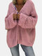 Solid Color Hollow Loose Knit Plus Size Cardigan