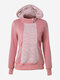Women Lace Stitching Hooded Long Sleeve Hoodie