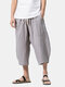 Mens Summer Breathable Cotton Linen Solid Color Calf Length Baggy Loose Drawstring Casual Shorts