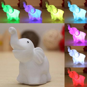 7 ألوان الطفل تغيير الفيل الصمام ليلة ضوء بطارية حزب ديكور