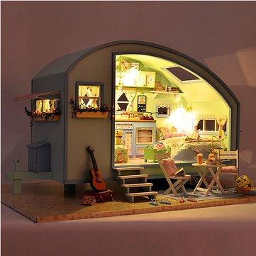 Cuteroom DIY Wooden Dollhouse Miniature Kit Doll house LED+Music+Voice Control