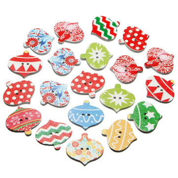 50pcs Christmas Wooden Sewing Buttons